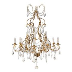 Elegant French Twelve-Light Two-Tiered Crystal Gilt Iron Chandelier