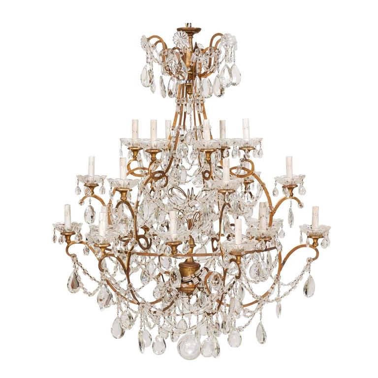 Grand Scale Italian Three-Tier, Twenty-Four-Light Mid-Century Crystal Chandelier