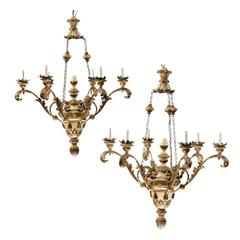 Exquisite Pair of Italian Early 20th Century Wood Chandeliers with Gilt & Paint