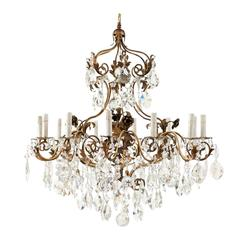 Italian Twelve-Light Crystal and Iron in Painted Gold Finish Ornate Chandelier