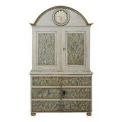 Early 19th Century Swedish Painted Wood Clock Cabinet with Roman Arch Pediment
