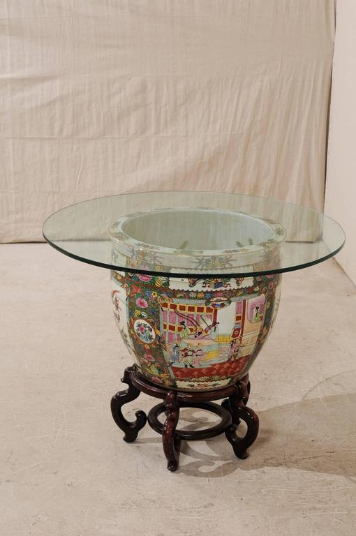Chinese Famille Rose Ornately Decorated Porcelain, Glass and Wood Round Table For Sale 3