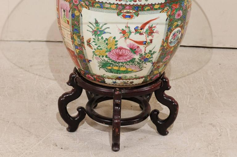 20th Century Chinese Famille Rose Ornately Decorated Porcelain, Glass and Wood Round Table For Sale