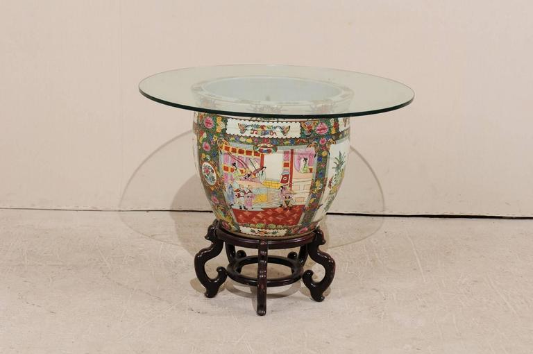 Chinese Famille Rose Ornately Decorated Porcelain, Glass and Wood Round Table For Sale 1
