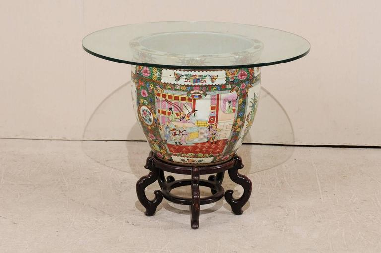 Painted Chinese Famille Rose Ornately Decorated Porcelain, Glass and Wood Round Table For Sale
