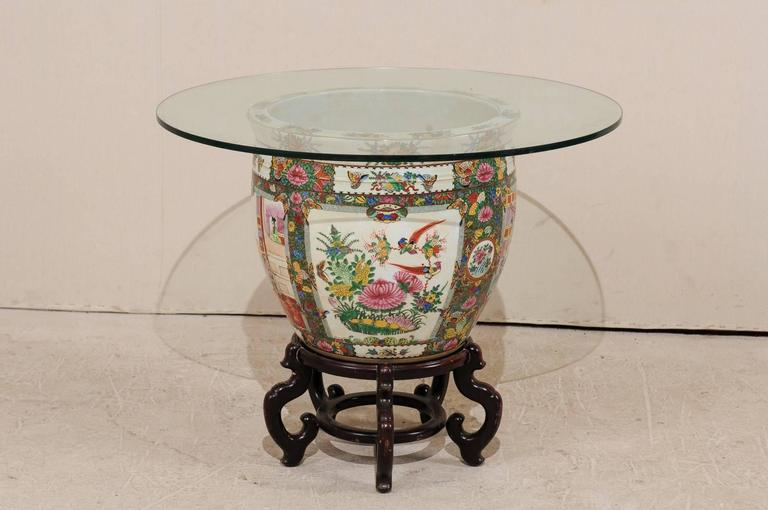 Chinese Famille Rose Ornately Decorated Porcelain, Glass and Wood Round Table In Good Condition For Sale In Atlanta, GA