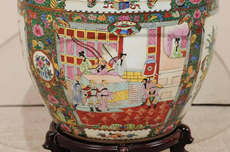 Chinese Famille Rose Ornately Decorated Porcelain, Glass and Wood Round Table For Sale 2