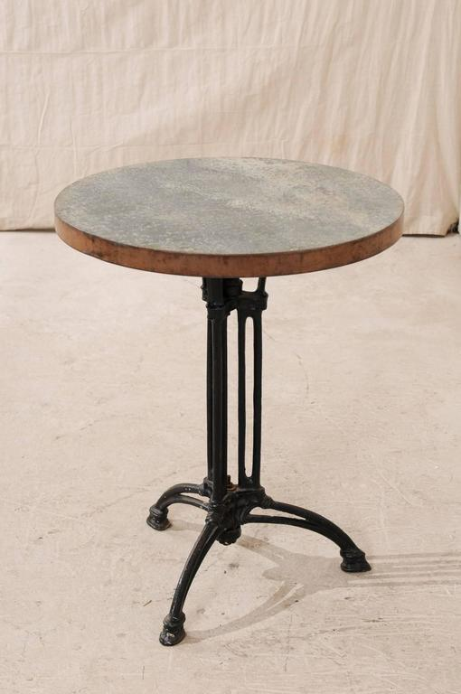 French Petite Round Iron Indoor Or Outdoor Bistro Table