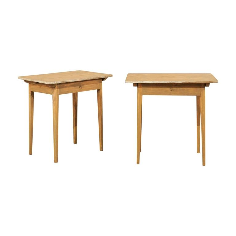 Pair of Swedish Beige Tinted Single Drawer Side Tables with Tapered Legs For Sale