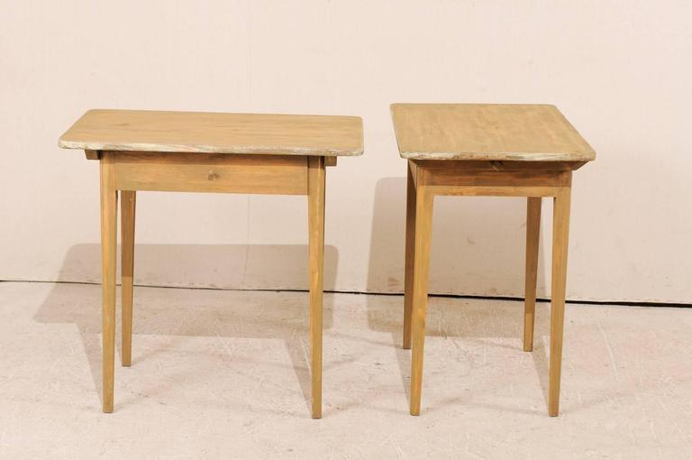 Wood Pair of Swedish Beige Tinted Single Drawer Side Tables with Tapered Legs For Sale