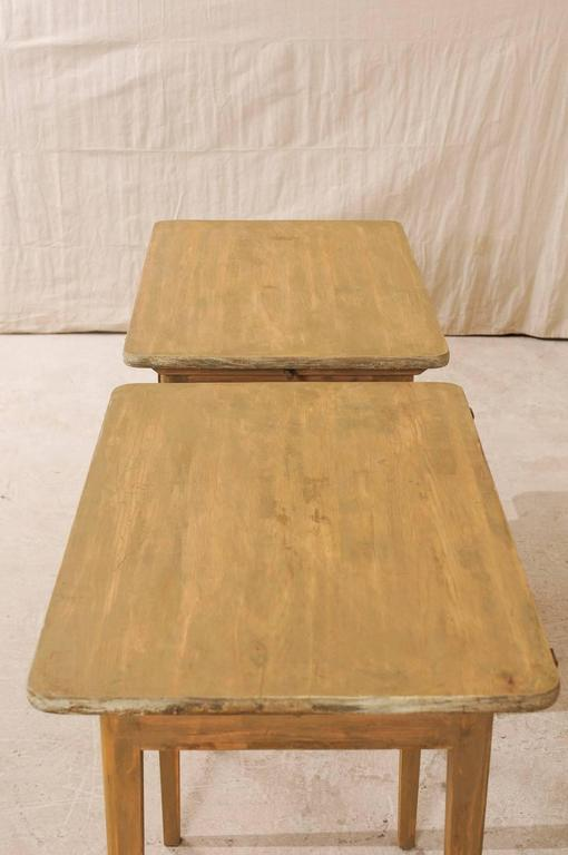 Pair of Swedish Beige Tinted Single Drawer Side Tables with Tapered Legs For Sale 4