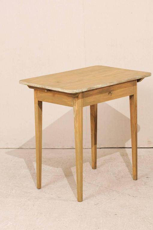 Pair of Swedish Beige Tinted Single Drawer Side Tables with Tapered Legs 4