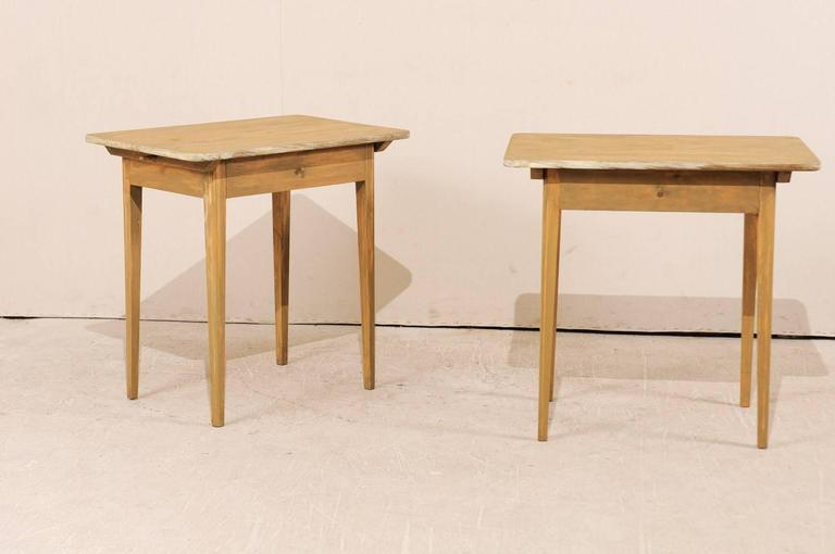 Pair of Swedish Beige Tinted Single Drawer Side Tables with Tapered Legs 2