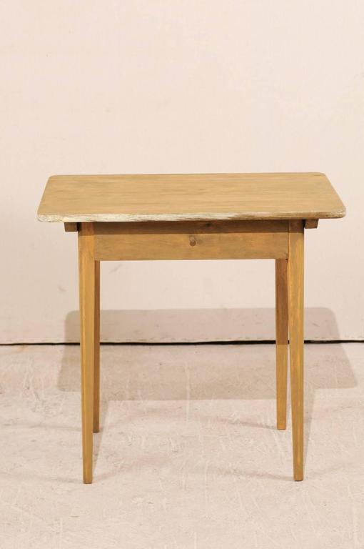 Pair of Swedish Beige Tinted Single Drawer Side Tables with Tapered Legs 3