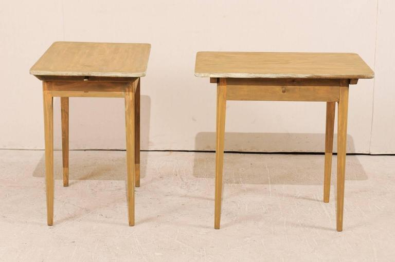 Pair of Swedish Beige Tinted Single Drawer Side Tables with Tapered Legs For Sale 2