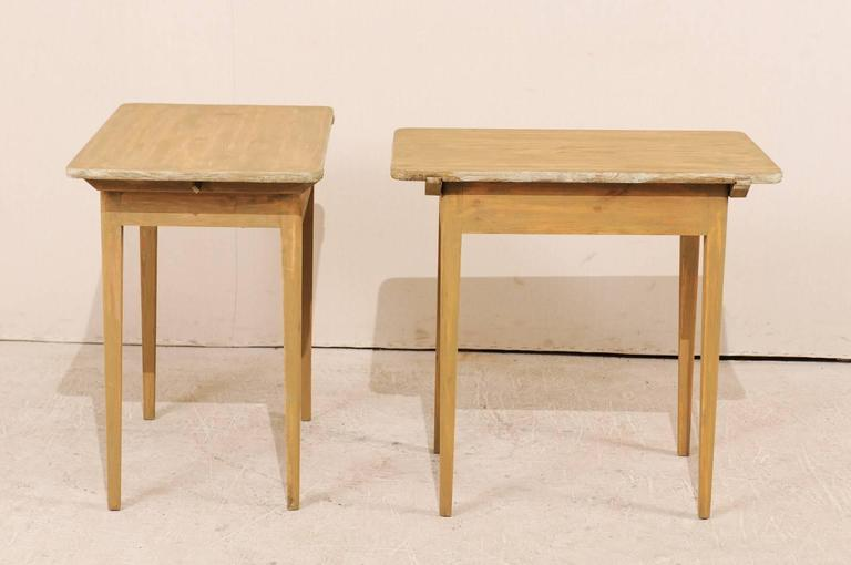 Pair of Swedish Beige Tinted Single Drawer Side Tables with Tapered Legs For Sale 3