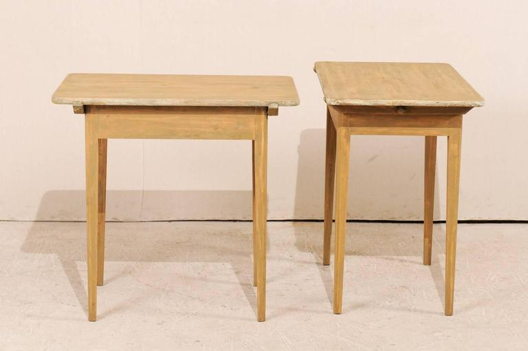 Pair of Swedish Beige Tinted Single Drawer Side Tables with Tapered Legs For Sale 1
