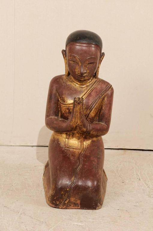 19th Century Burmese Buddha Figure in Prayer Hand-Carved from Sandstone For Sale 1