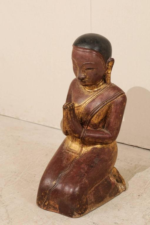 19th Century Burmese Buddha Figure in Prayer Hand-Carved from Sandstone In Good Condition For Sale In Atlanta, GA
