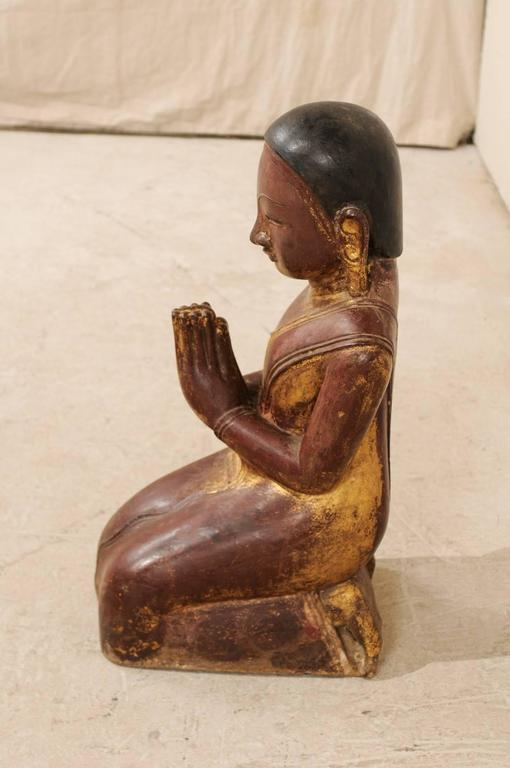 19th Century Burmese Buddha Figure in Prayer Hand-Carved from Sandstone For Sale 4