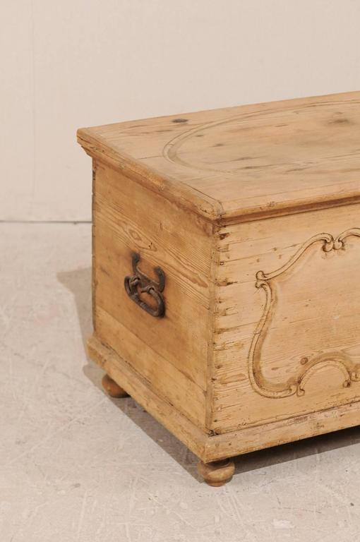 Carved 19th Century Pine Wood Coffer or Trunk with Shield-Like Carvings on the Front For Sale