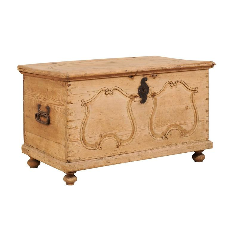19th Century Pine Wood Coffer or Trunk with Shield-Like Carvings on the Front