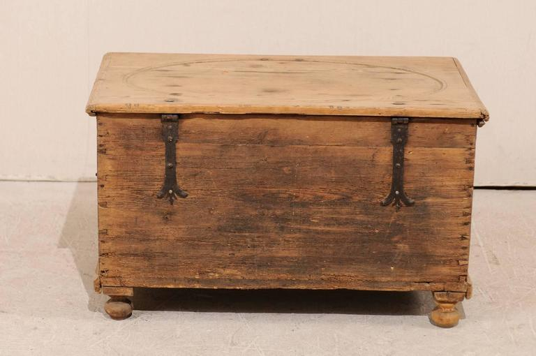 19th Century Pine Wood Coffer or Trunk with Shield-Like Carvings on the Front For Sale 1