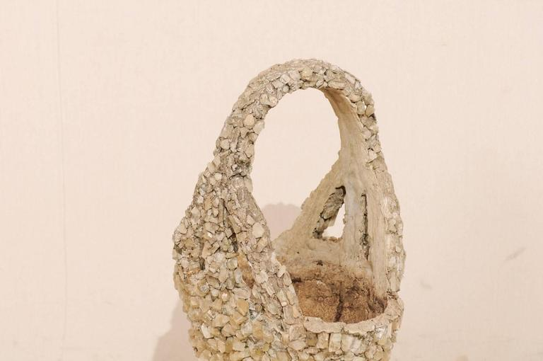 Stone Outdoor Basket Planter Made of Concrete and Quartz Attributed to Folk Artist For Sale