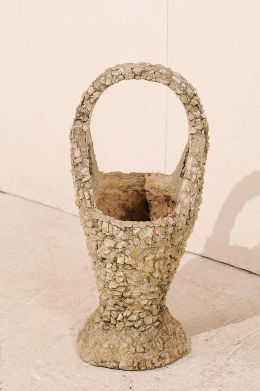 American Outdoor Basket Planter Made of Concrete and Quartz Attributed to Folk Artist For Sale