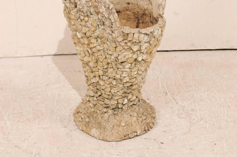 Outdoor Basket Planter Made of Concrete and Quartz Attributed to Folk Artist For Sale 1