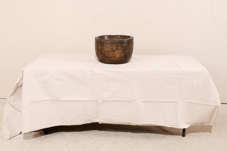 Naga Indian Tribal Wood Decorative Bowl Hand Carved from a Single Piece of Wood 10