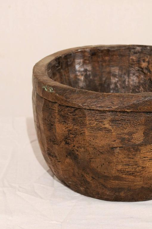 20th Century Naga Indian Tribal Wood Decorative Bowl Hand Carved from a Single Piece of Wood For Sale