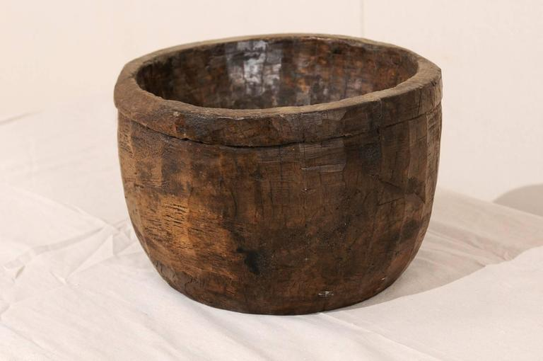 Primitive Naga Indian Tribal Wood Decorative Bowl Hand Carved from a Single Piece of Wood For Sale