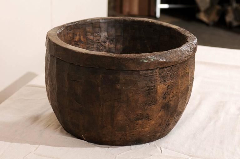 Hand-Carved Naga Indian Tribal Wood Decorative Bowl Hand Carved from a Single Piece of Wood For Sale