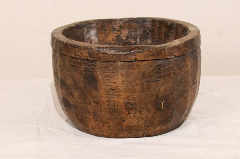 Burmese Naga Indian Tribal Wood Decorative Bowl Hand Carved from a Single Piece of Wood For Sale