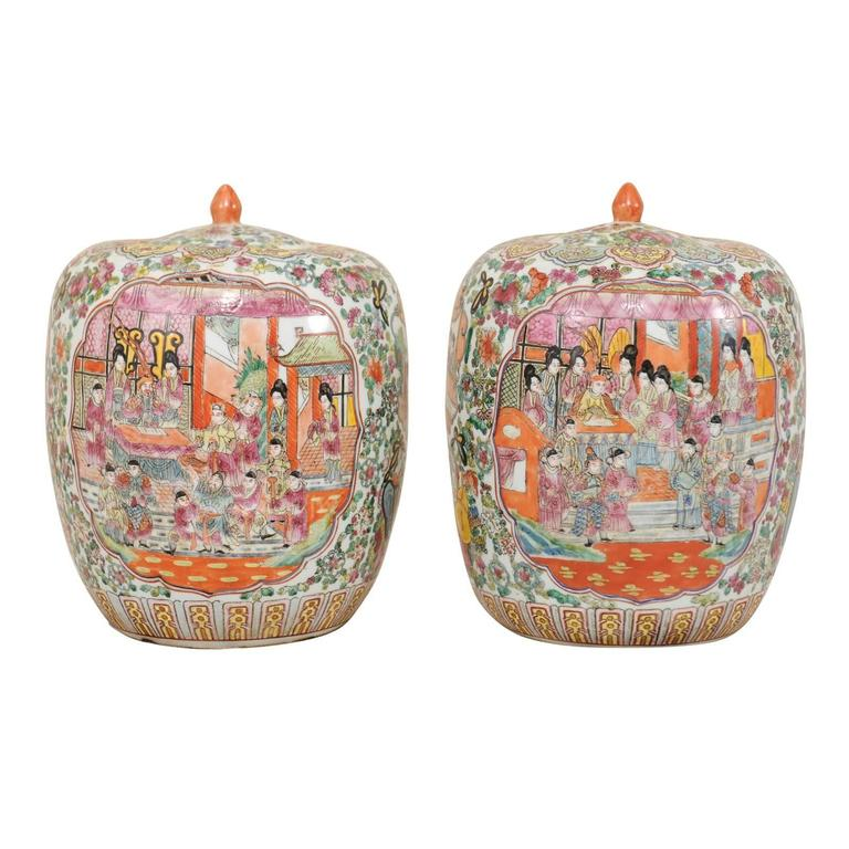 Pair of Painted Porcelain Chinese Famille Rose Jars Featuring a Palace Scene