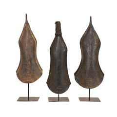 Set of Three African Hand-Forged Iron Bell Currencies on Custom Iron Stands