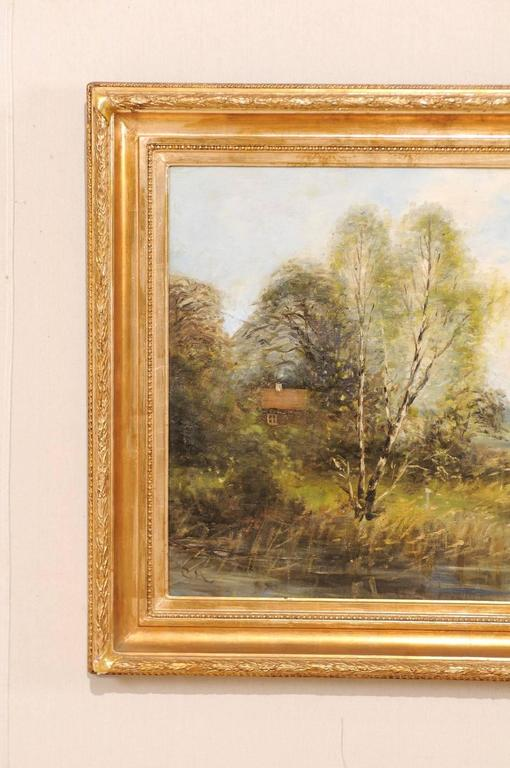 Swedish Original Landscape Oil Painting Depicting a Peaceful House Scene on the Water For Sale