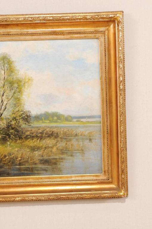 Original Landscape Oil Painting Depicting a Peaceful House Scene on the Water For Sale 1