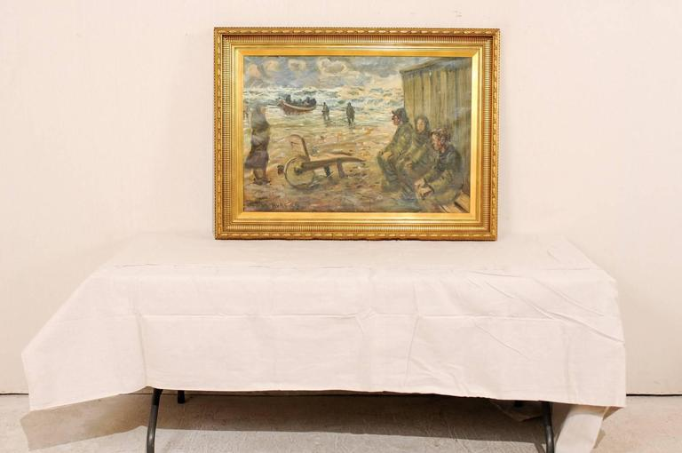 Mid-Century Oil Painting of Fishermen by the Sea in a Gold Colored Wood Frame For Sale 4