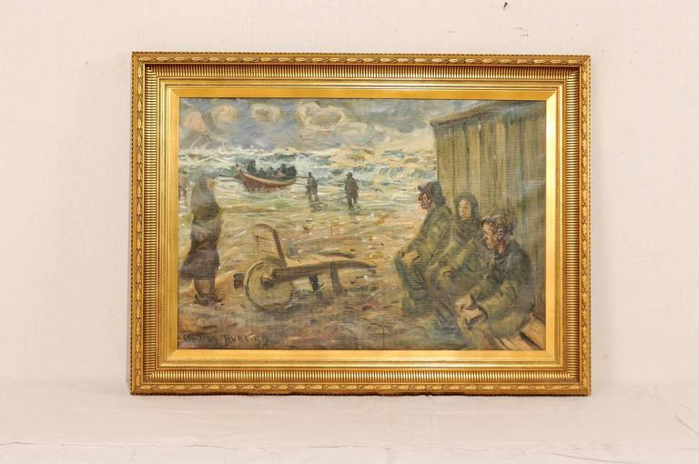 A Mid-Century oil painting of fishermen by the sea. This painting depicts the people of a fishing village, in their daily life by the sea. This painting is within a gold wood carved frame. The painting bears signature and date at the bottom right