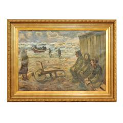 Mid-Century Oil Painting of Fishermen by the Sea in a Gold Colored Wood Frame