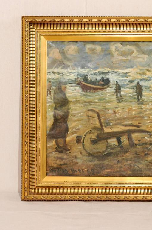 Hand-Crafted Mid-Century Oil Painting of Fishermen by the Sea in a Gold Colored Wood Frame For Sale