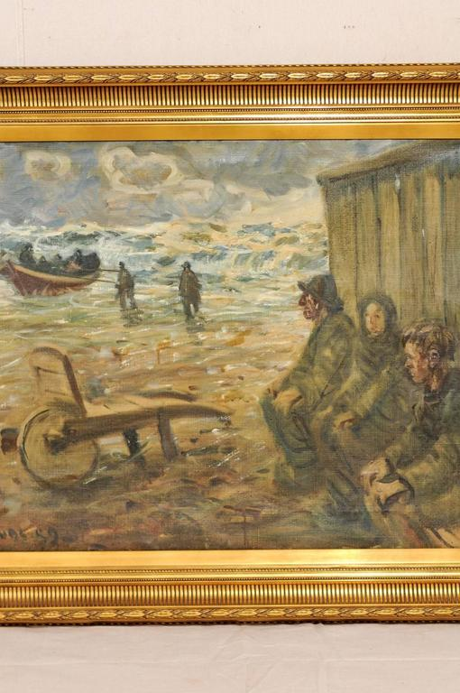 Mid-Century Oil Painting of Fishermen by the Sea in a Gold Colored Wood Frame In Good Condition For Sale In Atlanta, GA