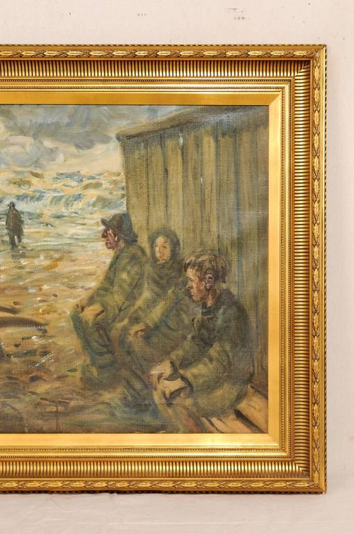Mid-Century Oil Painting of Fishermen by the Sea in a Gold Colored Wood Frame For Sale 2