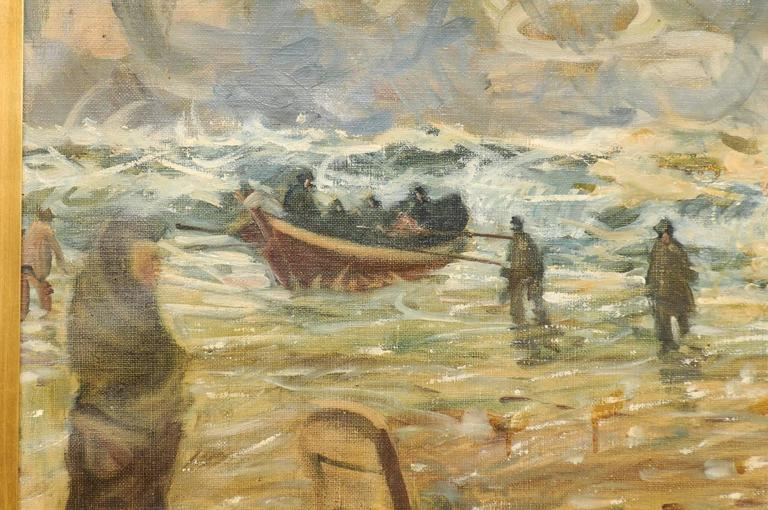 Canvas Mid-Century Oil Painting of Fishermen by the Sea in a Gold Colored Wood Frame For Sale