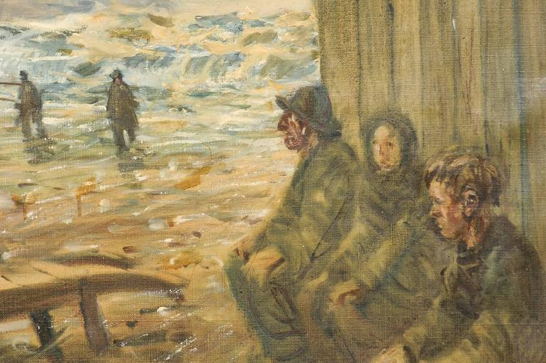 Mid-Century Oil Painting of Fishermen by the Sea in a Gold Colored Wood Frame For Sale 1