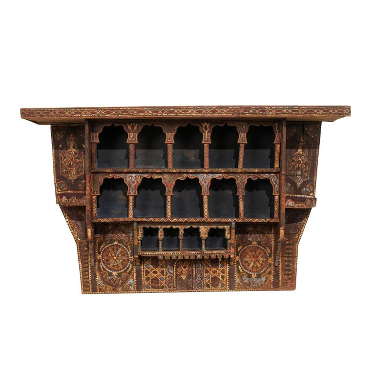 Mid-20th Century Moroccan Spice Rack, Handmade and Hand-Painted For Sale