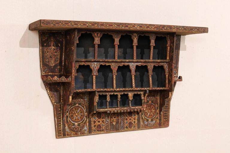 Hand-Carved Mid-20th Century Moroccan Spice Rack, Handmade and Hand-Painted For Sale