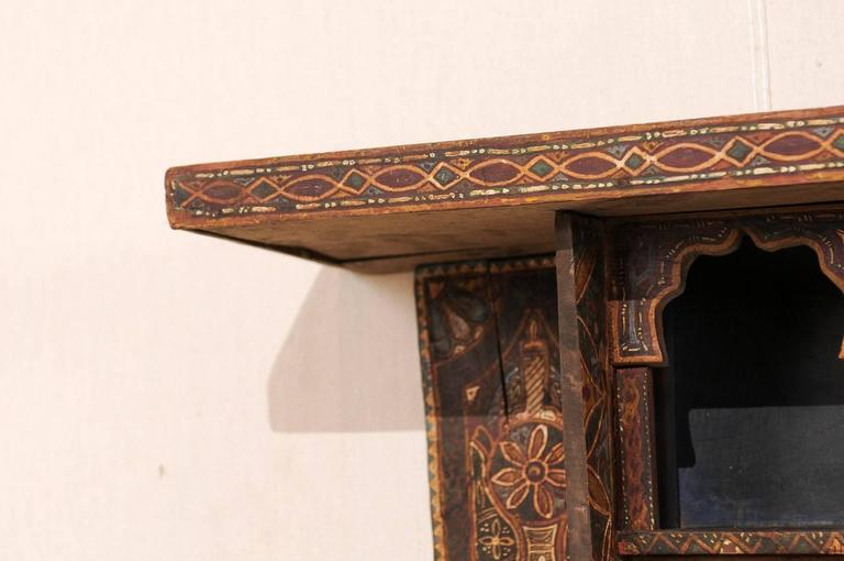 Wood Mid-20th Century Moroccan Spice Rack, Handmade and Hand-Painted For Sale